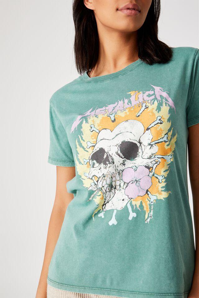 Classic Metallica T Shirt, LCN PRO METALLICA FLOWER SKULL/HERITAGE GREEN