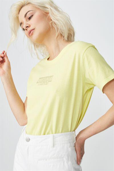 Tbar Fox Graphic T Shirt, LCN STRANGER THINGS LOGO/LIMELIGHT