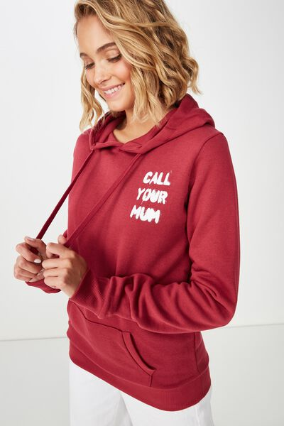 Delevingne Graphic Hoodie, CALL YOUR MUM/RUMBA RED