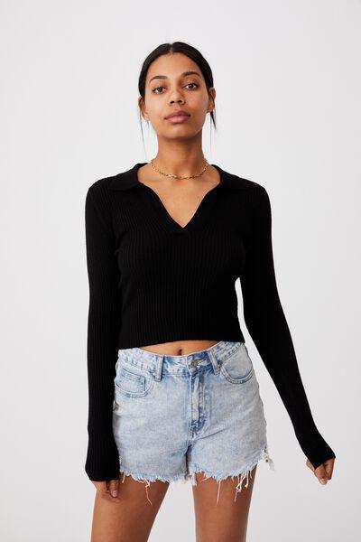 Long Sleeve Knit Rib Polo, BLACK