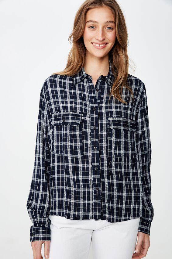 Cropped Utility Shirt, LEXI CHECK BLACK