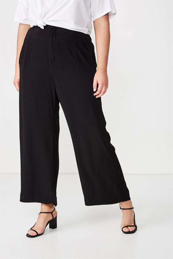 Curve Wide Drape Pant, BLACK