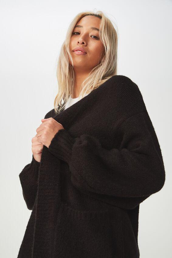 Amelia Slouch Cardi, BLACK