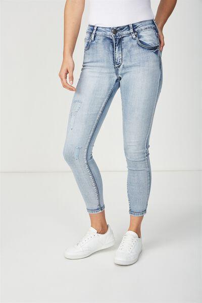Mid Rise Grazer Skinny Jean, VINTAGE BLUE MIST