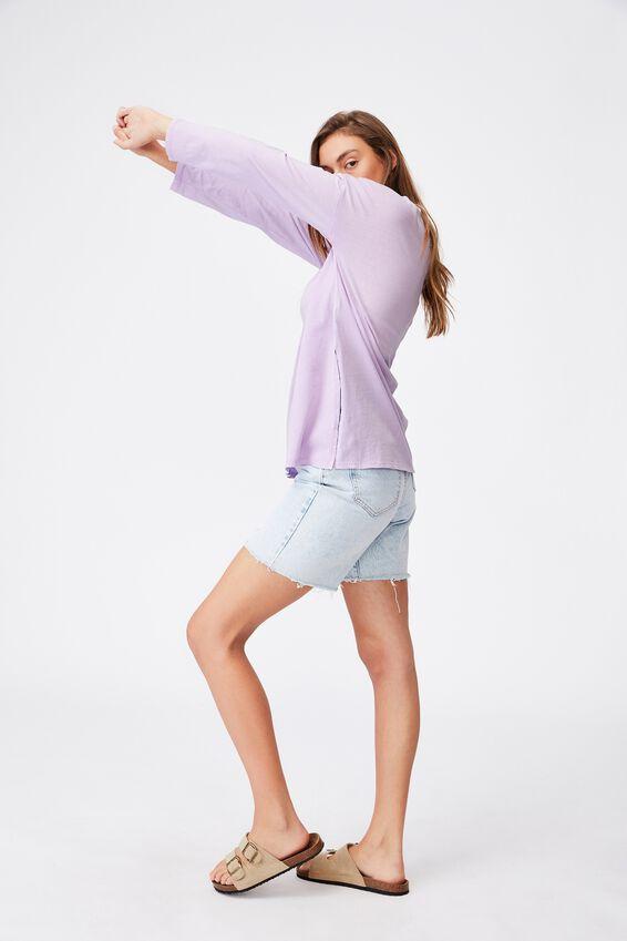 Oversized Side Split Long Sleeve Top, WASHED FROSTY LILAC