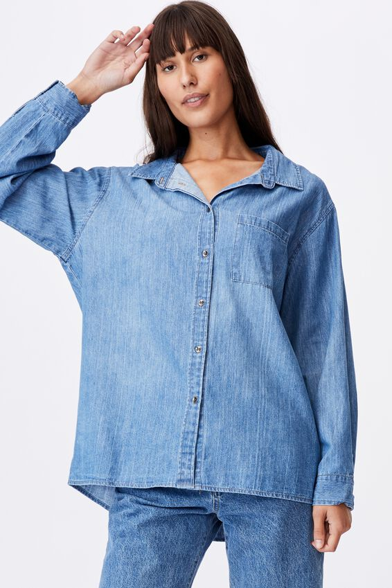 Boyfriend Shirt, WASHED RIVER BLUE