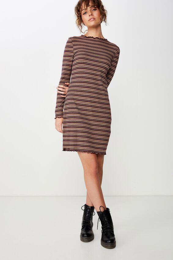 Grace High Neck Long Sleeve Mini Dress, ASHLEY STRIPE TOTAL ECLIPSE RIB