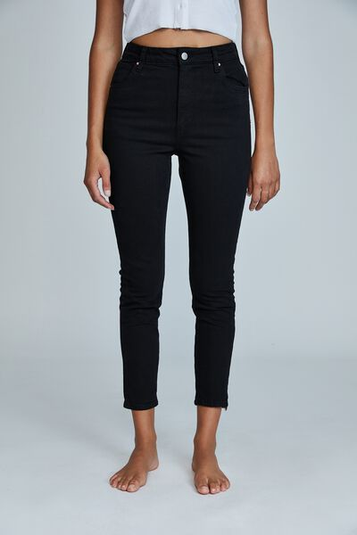 High Rise Cropped Skinny Jean, BLACK