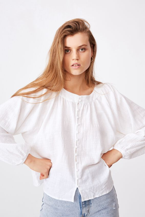 Smock Blouse, WHITE