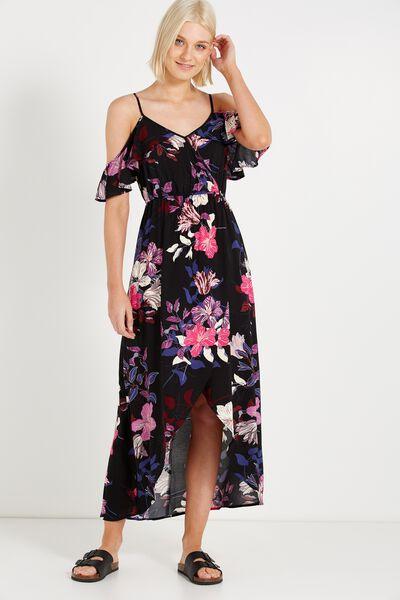 Woven Deb Cold Shoulder Maxi Dress, LEVY FLORAL BLACK