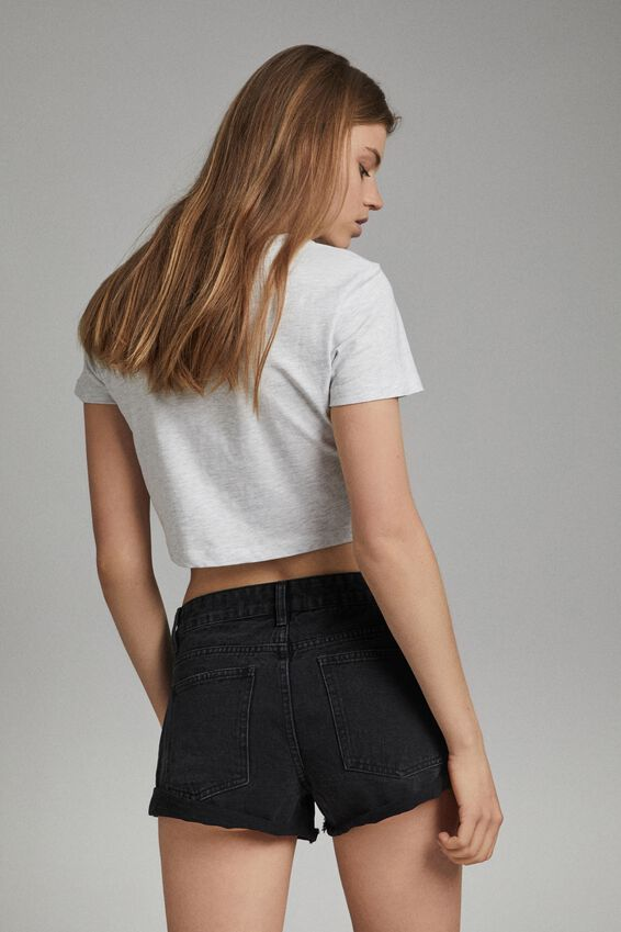 Mid Relaxed Denim Short, WASHED MIDNIGHT BLACK