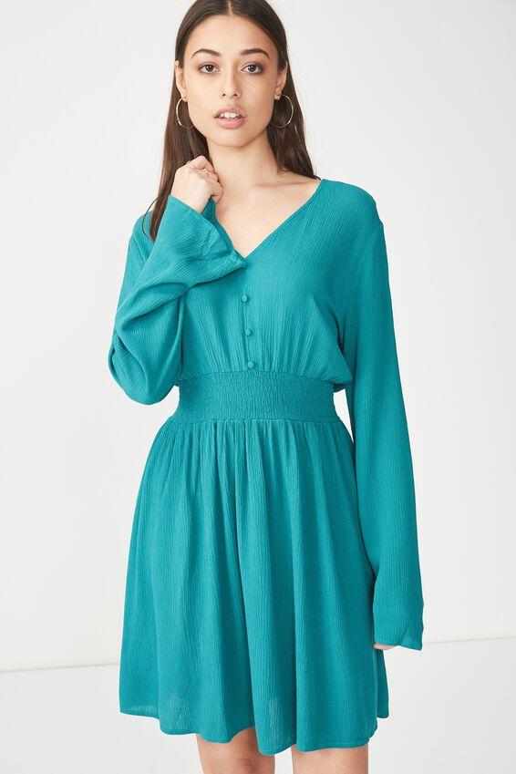 Woven Nadine Tea Dress, TEAL