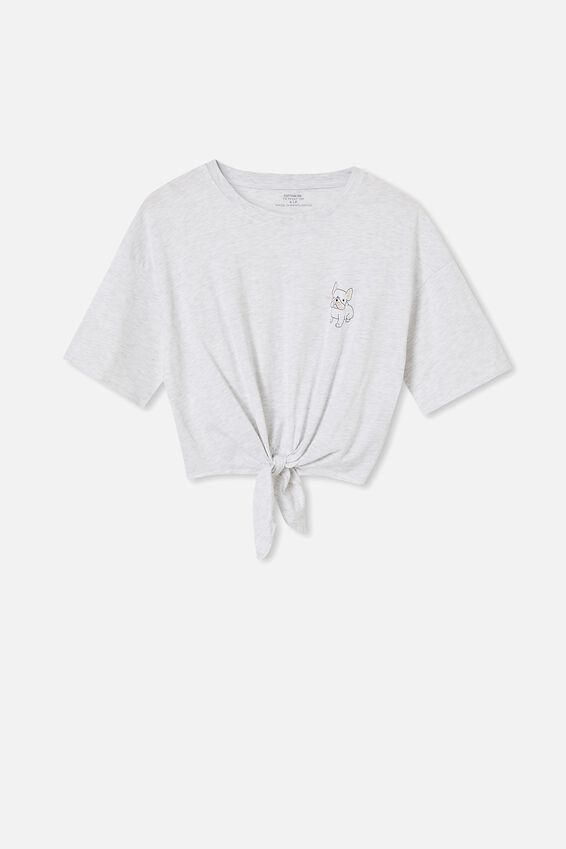 Drop Shoulder Tie Front Tee - Marle, FRENCHIE/SILVER MARLE