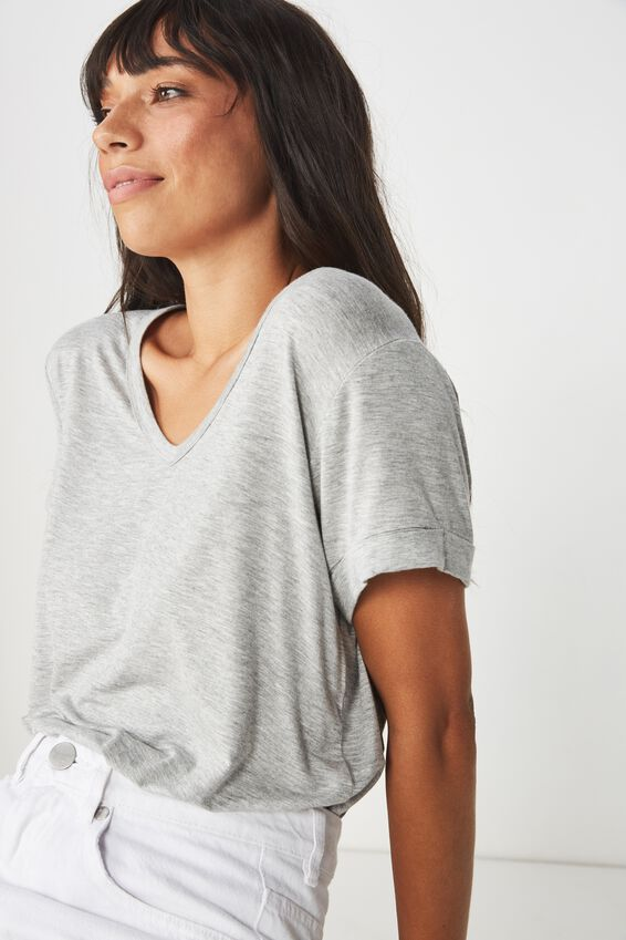 Karly Short Sleeve V Neck Top, GREY MARLE 2