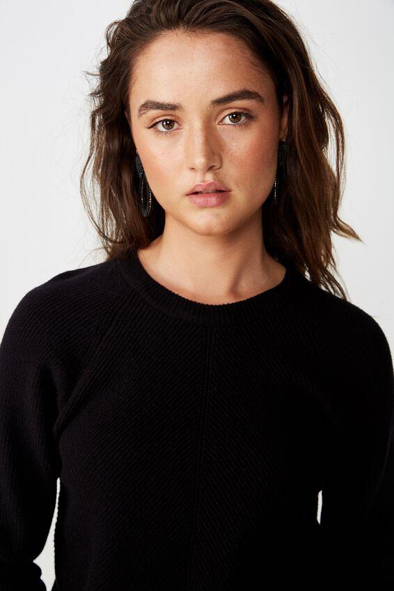 Rosie Rib Raglan Pullover, BLACK