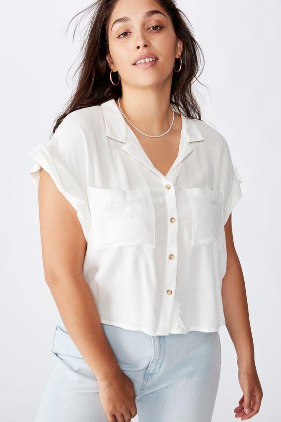 Curve Emily Chopped Short Sleeve Shirt, WHITE