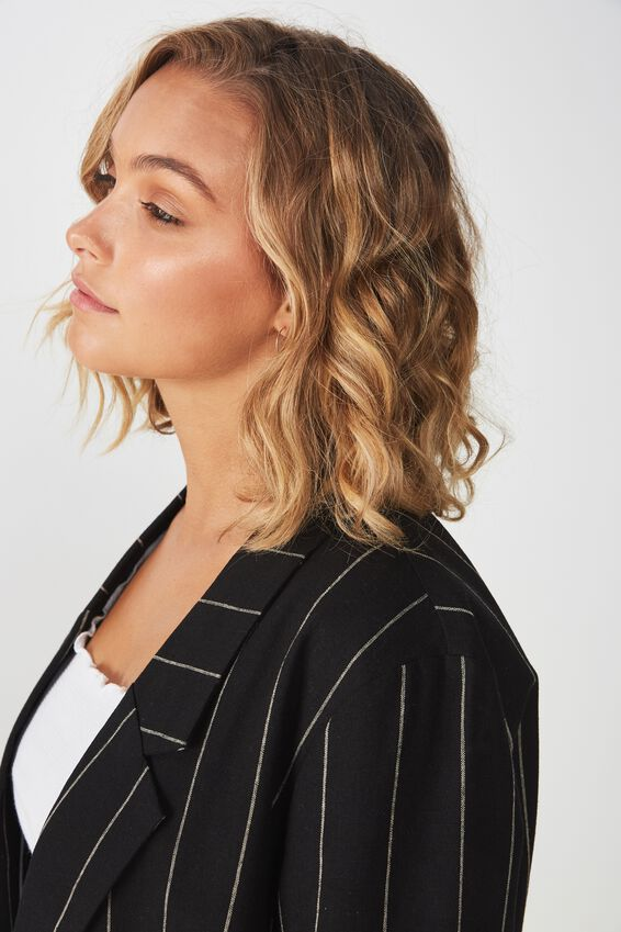 Deconstructed Soft Blazer, BLACK/OAT PINSTRIPE