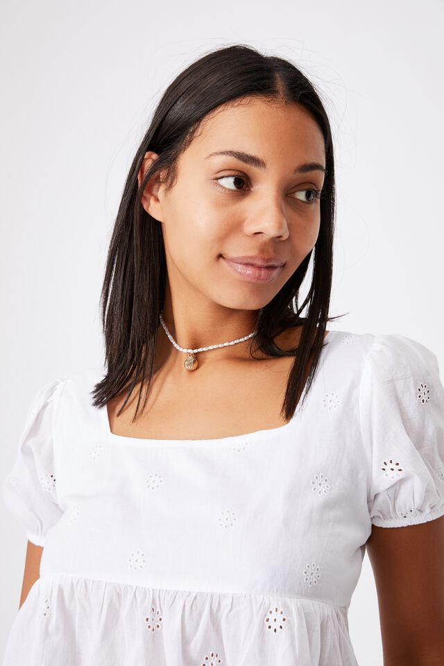 Maggie Tie Back Babydoll Blouse, WHITE