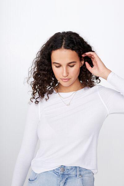 A Girlfriend Long Sleeve Top, WHITE