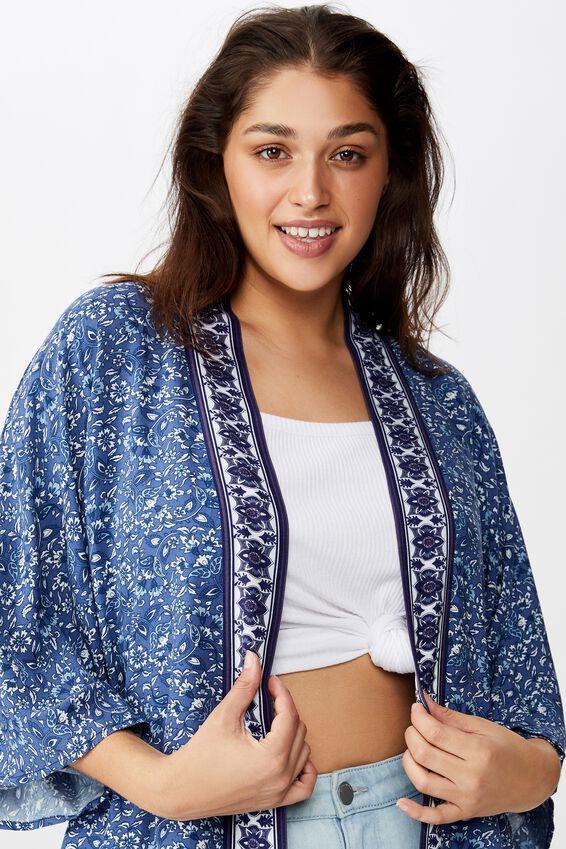 Curve Wanderlust Kimono, ALANA FLORAL BORDER MOOD INDIGO