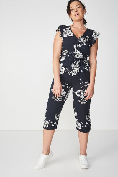 Woven Frankie V Neck Culotte Jumpsuit, ASH FLORAL MOOLIGHT WITH BLACK