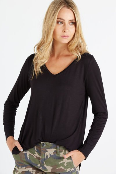Keira Long Sleeve T Shirt, BLACK