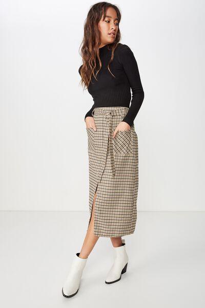 Woven Mindy Midi Skirt, JOSIE MID CHECK DIJON