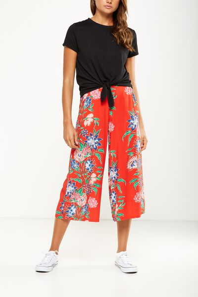 Mid Rise Drapey Culotte Pant, HILARY VINE FLORAL SCARLET RED