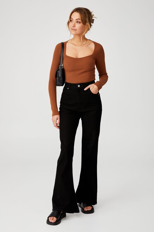 Ribbed Fashion Detail Long Sleeve, CHOCOLATE BROWN