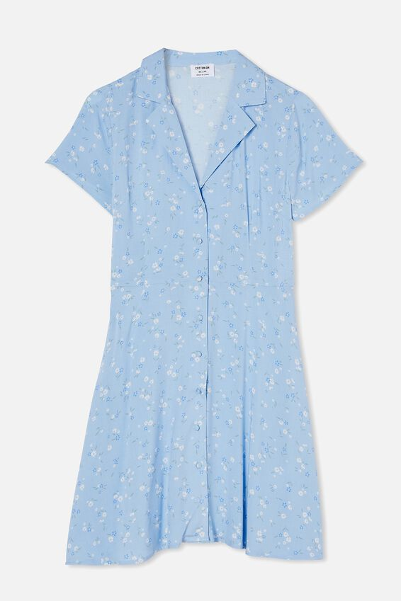 Woven Connie Button Down Mini Dress, LAYLA DITSY CHAMBRAY BLUE