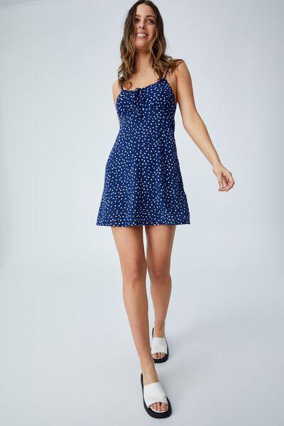 Woven Petite Ivy Tie Front Mini Dress, BILLIE DITSY MEDIEVAL BLUE