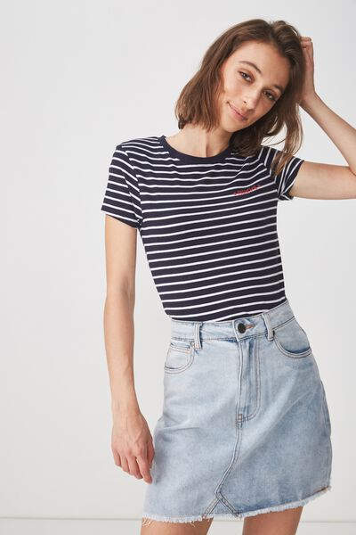 Tbar Hero Graphic T Shirt, COOL GIRLS ARE FRENCH MOONLIGHT/WHITE STRIPE