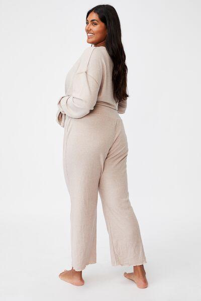 Curve Super Soft Rib Lounge Pant, MUSHROOM MARLE RIB