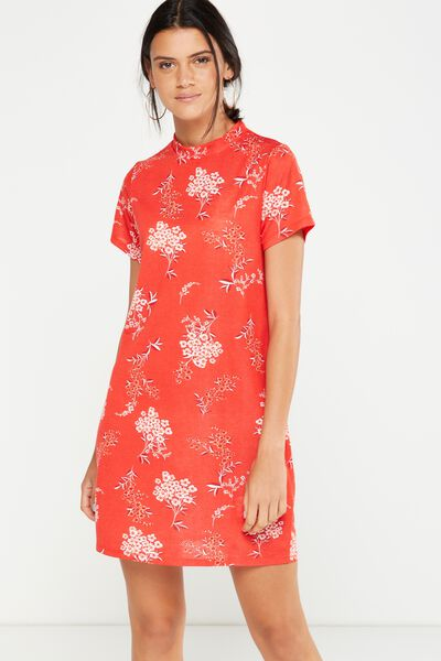 Daria Short Sleeve High Neck Dress, STEVIE FLORAL CHINESE RED