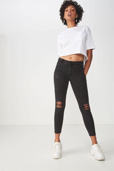 604dbeaff95526 Mid Rise Grazer Skinny Jean, CORE BLACK WORN RIPS. Cotton On Women. Mid Rise  Grazer Skinny Jean