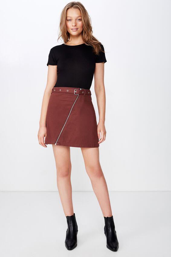 Woven Tyler Utility Skirt, BITTER CHOCOLATE