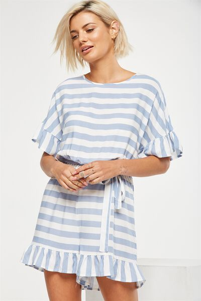 Woven Fay Crew Playsuit, BLOCK STRIPE CADET BLUE