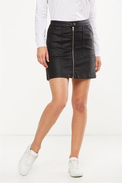 Coated A Line Skirt, BLACK