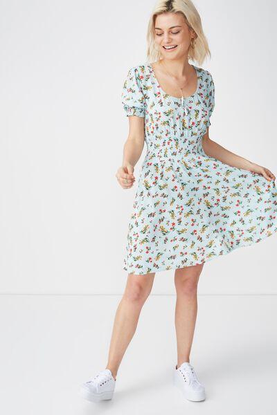 Woven Hazel Prairie Cap Sleeve Dress, MELISSA FLORAL SMALL PASTEL BLUE