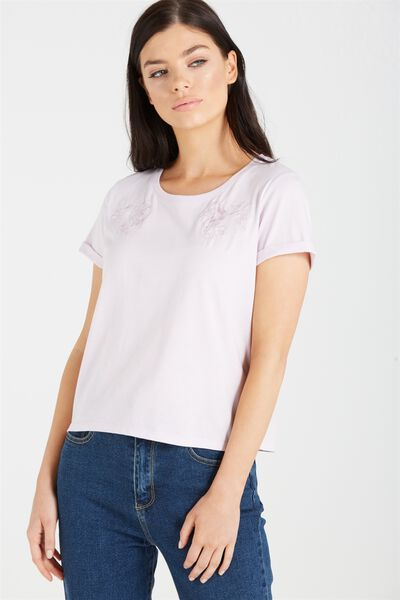 Selena Detail Top, LIGHT LAVENDER/EMBROIDERY