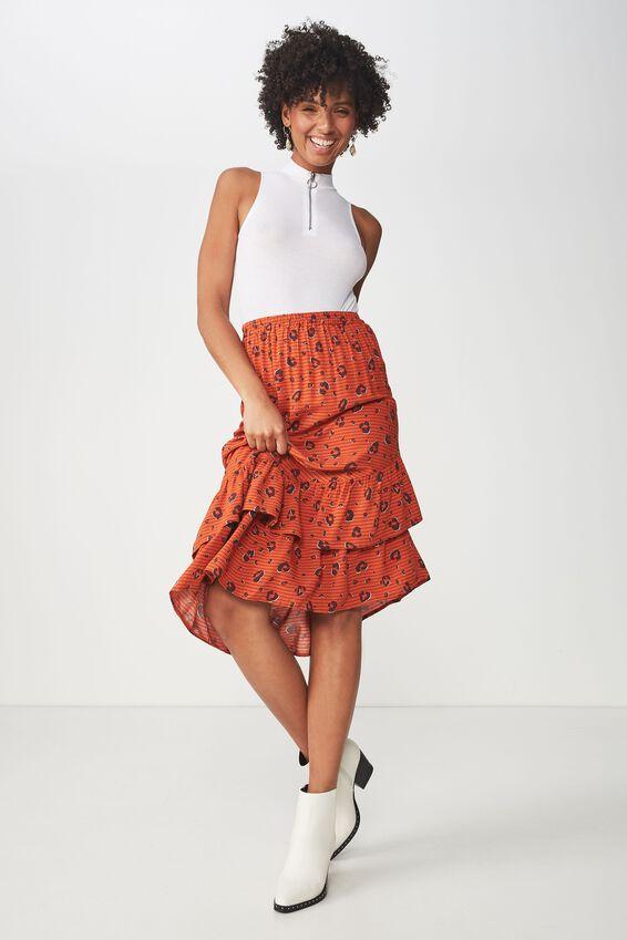 Woven Rikki Ruffle Midi Skirt, PENNY STRIPE ANIMAL BURNT OCHRE