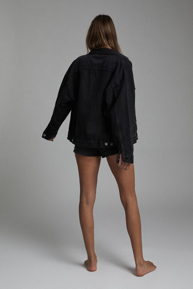 The Oversized Denim Jacket, MIDNIGHT BLACK