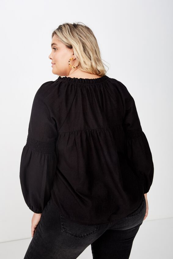 Curve Breanne Woven Top, BLACK