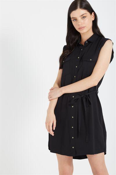 Woven Tilly Sleeveless Shirt Dress, BLACK