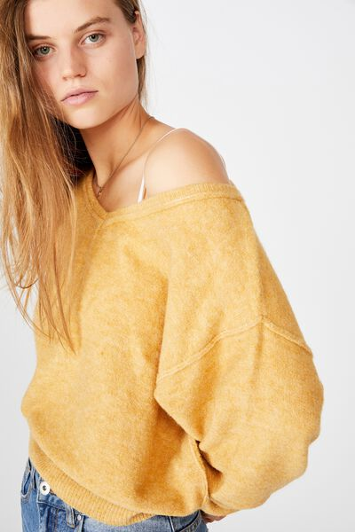 Luxe Fine Gauge V Pullover, NEW WHEAT