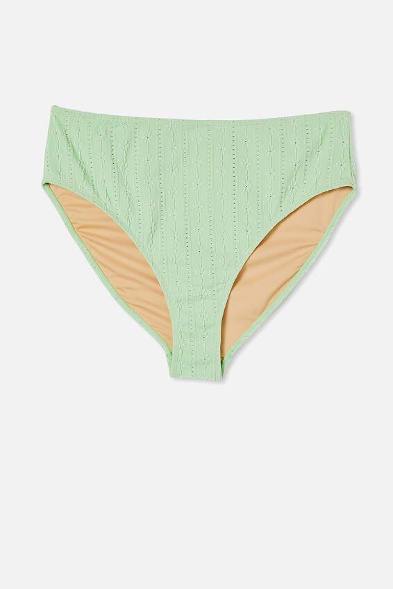 Curve High Waisted Full Bikini Bottom, MINT BROIDERIE
