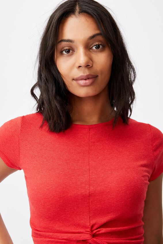 Tilly Twist Front Crew Neck Short Sleeve, LUCKY RED