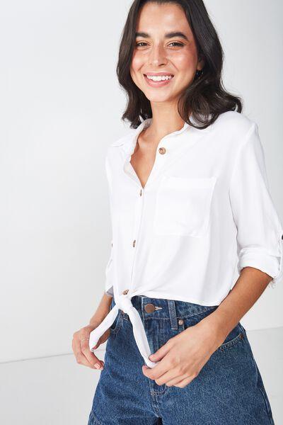 Serena Tie Front Shirt, WHITE