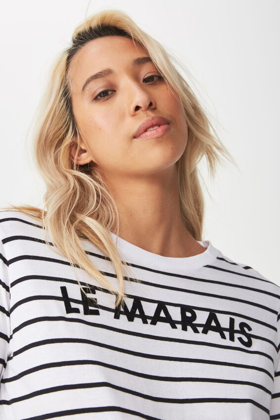 Tbar Tammy Chopped Graphic Long Sleeve Tee, LE MARAIS WHITE/BLACK STRIPE