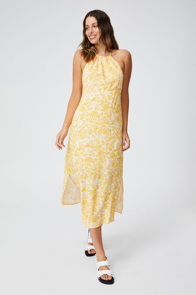 Woven Harper Tie Back Halter Midi Dress, JULIA FLORAL MANGO